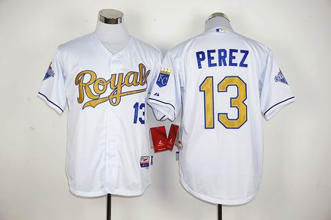 MLB Kansas City Royals #13 Salvador Perez white jersey