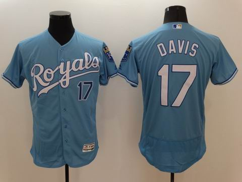 MLB Kansas City Royals #17 Wade Davis light blue flexbase jersey
