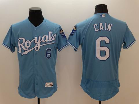 MLB Kansas City Royals #6 Lorenzo Cain light blue flexbase jersey