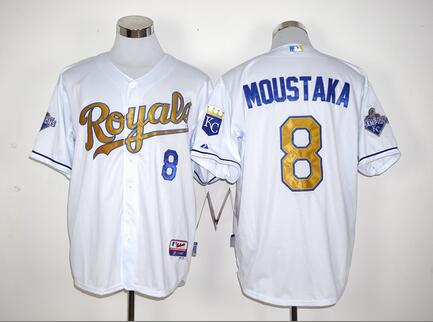 MLB Kansas City Royals #8 Mike Moustakas White World Series Champions jersey