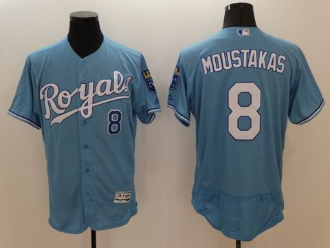 MLB Kansas City Royals #8 Mike Moustakas light blue flexbase jersey