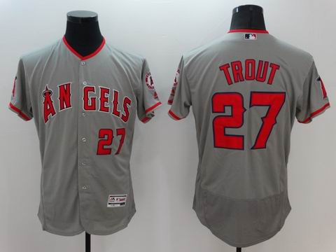 MLB Los Angeles Angels #27 Mike Trout grey flex base jersey