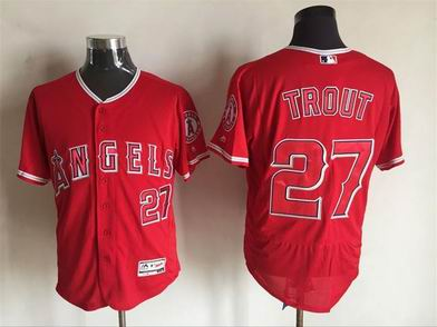 MLB Los Angeles Angels #27 Mike Trout red flex base jersey