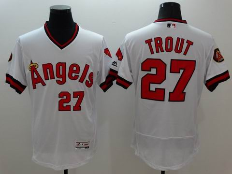 MLB Los Angeles Angels #27 Mike Trout white jersey