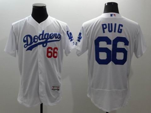 MLB Los Angeles Dodgers #66 Yasiel Puig white jersey