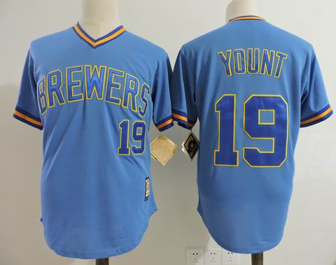 MLB Milwaukee Brewers #19 YOUNT blue m&n jersey