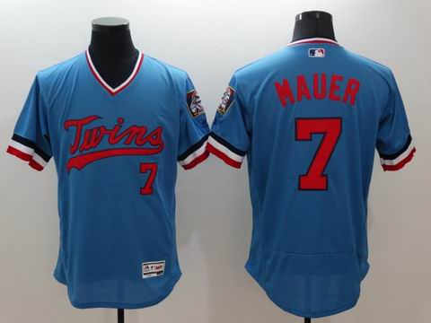 MLB Minnesota Twins #7 Joe Mauer blue jersey