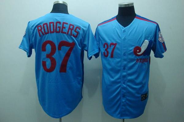 MLB Mitchell and Ness Expos #37 Steve Rogers Blue Throwback jersey