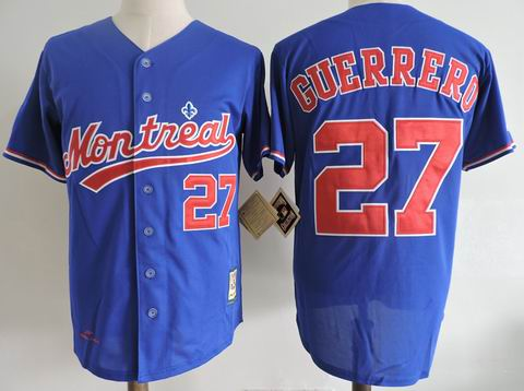 MLB Montreal Expos #27 GUERRERO blue m&n jersey