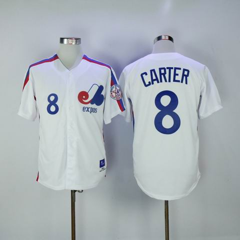 MLB Montreal Expos #8 Carter white throwback jersey