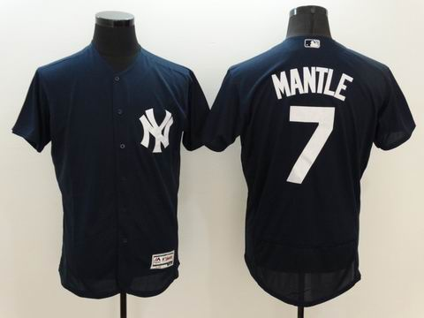 MLB New York Yankees #7 Mickey Mantle blue jersey