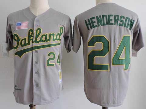 MLB Oakland Athletics #24 Henderson grey m&n jersey