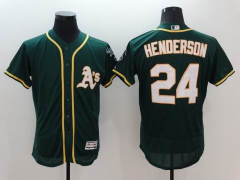 MLB Oakland Athletics #24 Rickey Henderson green flex base jersey