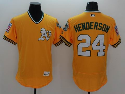 MLB Oakland Athletics #24 Rickey Henderson yellow jersey