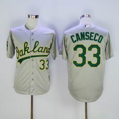 MLB Oakland Athletics #33 Jose Canseco Gray jersey