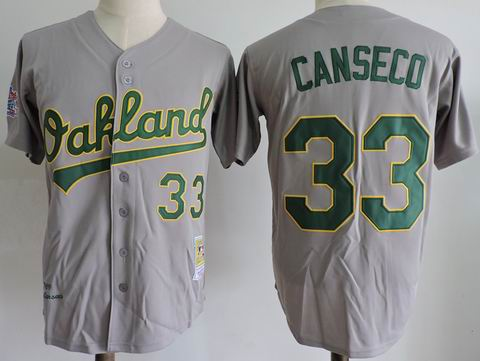 MLB Oakland Athletics #33 Jose Canseco grey m&n jersey