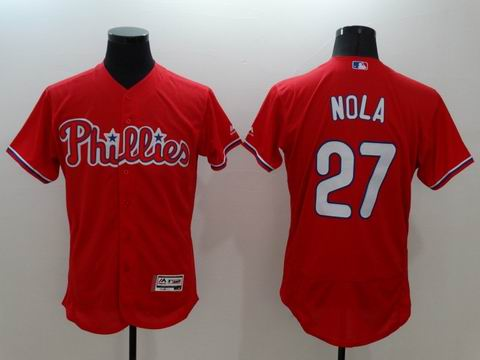 MLB Philadelphia Phillies #27 Aaron Nola red jersey