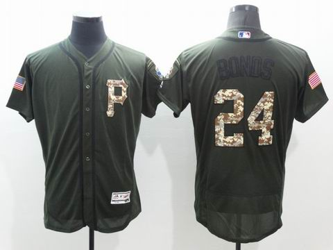 MLB Pirates #24 Bonds green Olive Salute To Service Jersey