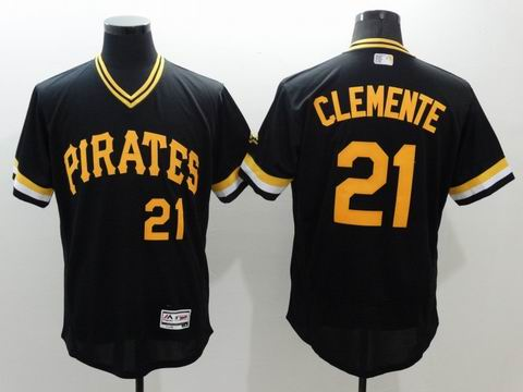 MLB Pittsburgh Pirates #21 Roberto Clemente black jersey