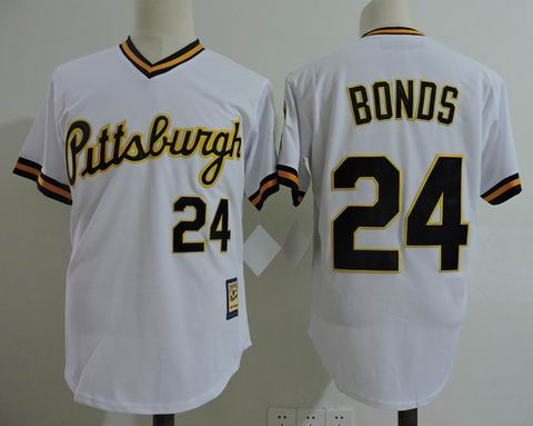 MLB Pittsburgh Pirates #24 Bonds white m&n jersey