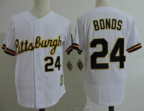MLB Pittsburgh Pirates #24 Bonds white mitchell&ness jersey