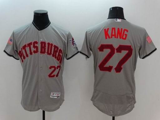 MLB Pittsburgh Pirates #27 Jung Ho Kang grey flexbase jersey