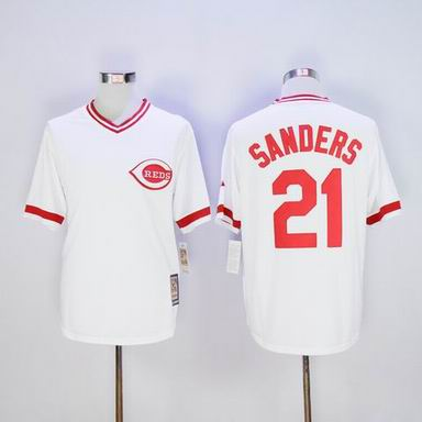 MLB Reds #21 Sanders white throwback jersey
