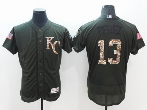 MLB Royals #13 Salvador Perez green Olive Salute To Service Jersey