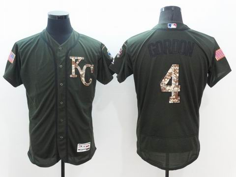 MLB Royals #4 Alex Gordon green Olive Salute To Service Jersey