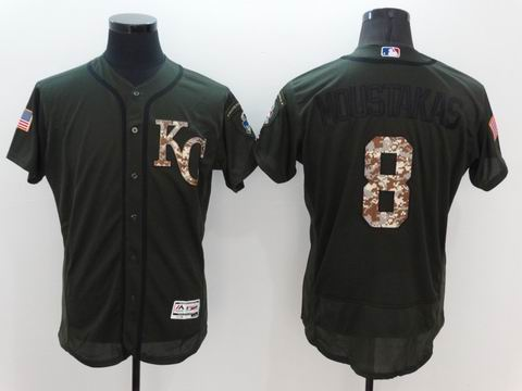 MLB Royals #8 Mike Moustakas green Olive Salute To Service Jersey
