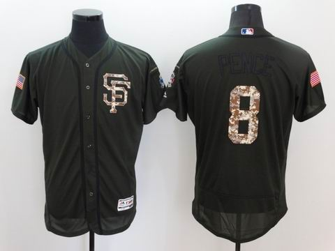 MLB San Francisco Giants #8 green Olive Salute To Service Jersey