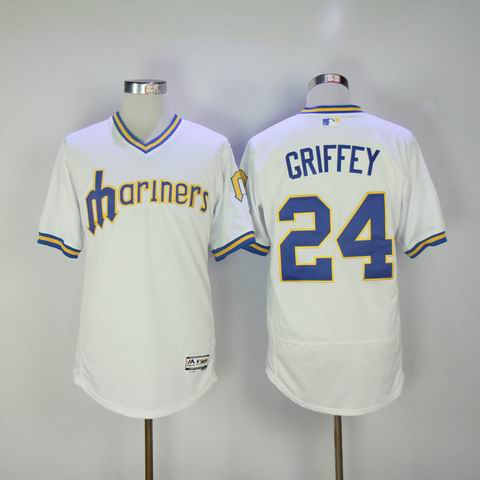 MLB Seattle Mariners #24 Griffey white jersey