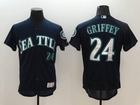 MLB Seattle Mariners #24 Ken Griffey Jr blue flexbase jersey