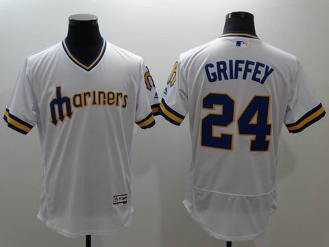 MLB Seattle Mariners #24 Ken Griffey Jr white jersey