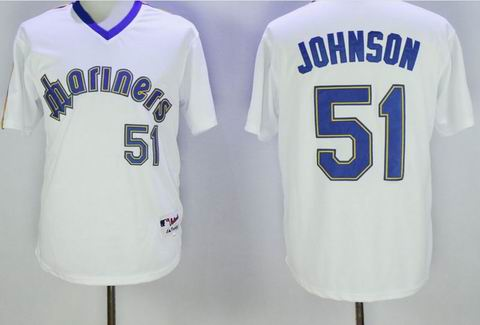 MLB Seattle Mariners #51 Randy Johnson white jersey