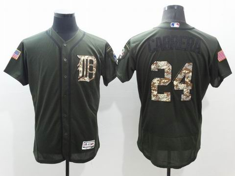 MLB Tigers #24 Miguel Cabrera green Olive Salute To Service Jersey