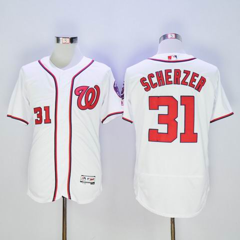MLB Washington Nationals #31 Max Scherzer white jersey