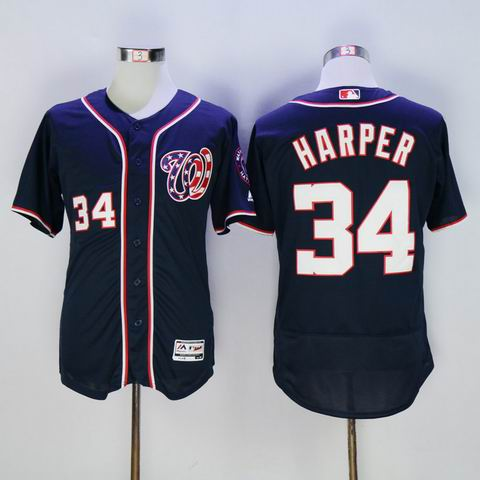 MLB Washington Nationals #34 Bryce Harper blue jersey