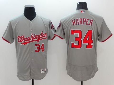 MLB Washington Nationals #34 Bryce Harper grey flexbase jersey