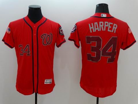 MLB Washington Nationals #34 Bryce Harper red flexbase jersey