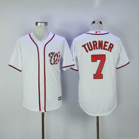 MLB Washington Nationals #7 Turner white jersey