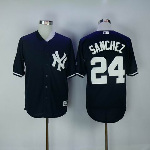 MLB Yankees #24 Sanchez blue jersey