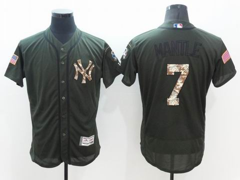 MLB Yankees #7 Mickey Mantle green Olive Salute To Service Jersey