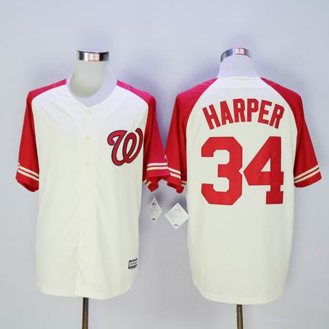 MLB nationals #34 Harper white jersey
