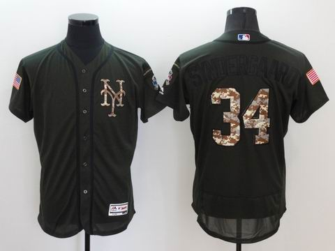 MLB new york mets #34 green Olive Salute To Service Jersey
