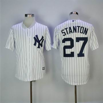 MLB yankees #27 Stanton white game jersey