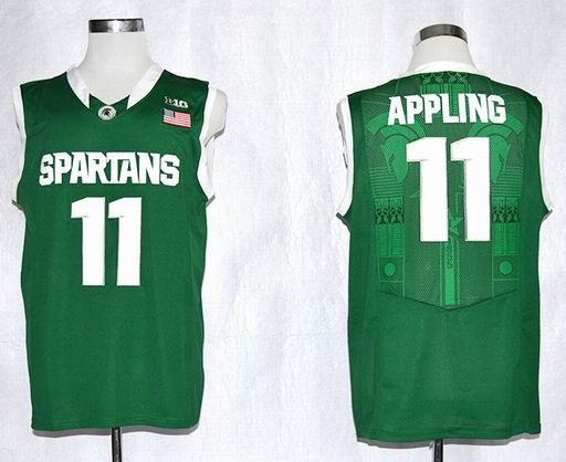 Michigan State Spartans Keith Appling 11 College Football Basketball Authentic Jersey - Green