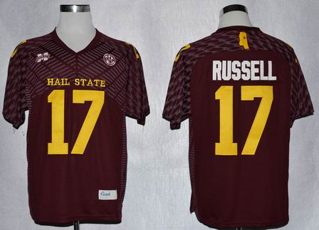 Mississippi State Bulldogs Tyler Russell 17 College Football Techfit Jerseys-Maroon