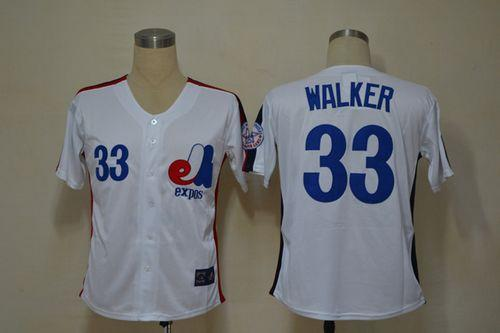 Mitchell And Ness Expos #33 Larry Walker White Throwback Stitched Baseball Jersey
