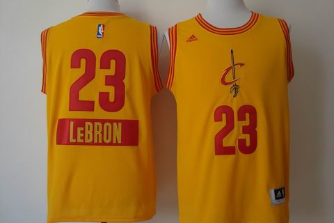 NBA Cleveland Cavaliers 23 Lebron yellow christmas day jersey